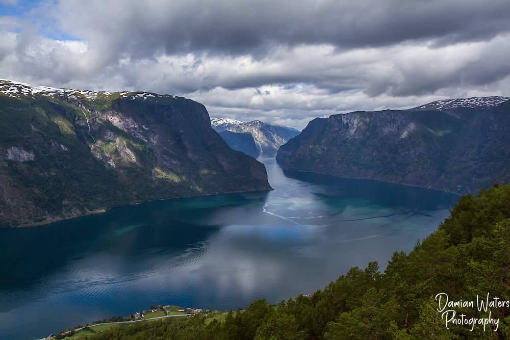 View along Aurlandsfjord from Stegastein viewpoint, Aurland - Norway, August
