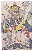 Wilhelm I (1797-1888) King of Germany 1861, Emperor 1871.Cartoon by Coide (J Tissot) which appeared during the Siege of Paris 1870-1871, Franco Prussian War, showing the Emperor with Bismarck as his carving knife, and  the nationalities he had conquered.