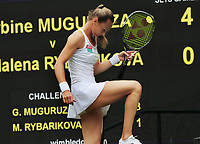 Tennis - 2017 Wimbledon Championships - Week Two, Thursday [Day Ten]<br /> <br /> Women's Singles, Semi Final match<br /> <br /> Garbine Muguruza (ESP) vs. Magdalena Rybarikova (SVK)<br /> <br /> Magdalena Rybarikova kicks the grass on  Centre Court <br /> <br /> COLORSPORT/ANDREW COWIE