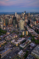 Rooftops of Queen Anne & Belltown (foreground) with Downtown Seattle
