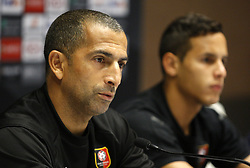 November 7, 2018 - Kiev, Ukraine - Rennes' French coach Sabri Lamouchi (L) and player Mehdi Zeffane (R) attend a press-conference in Kiev, Ukraine, 07 November, 2018. Rennes will play against Dynamo Kyiv at the UEFA Europa League Group K second-leg football match at the Olympiyskiy Stadium in Kiev, on November 08. (Credit Image: © Str/NurPhoto via ZUMA Press)
