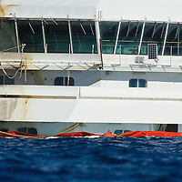 ISOLA DEL GIGLIO, ITALY - SEPTEMBER 18:  The command cabin of the Costa Concordia, of which several floors remain underwater,  is seen  on September 18, 2013 in Isola del Giglio, Italy. The vessel, which sank on January 12, 2012, was successfully righted during a painstaking operation yesterday morning. The ship will eventually be towed away and scrapped. ItÊwas the first time the procedure, known as parbuckling, hadÊbeen carried out on a vessel as large as Costa Concordia.  (Photo by Marco Secchi/Getty Images)