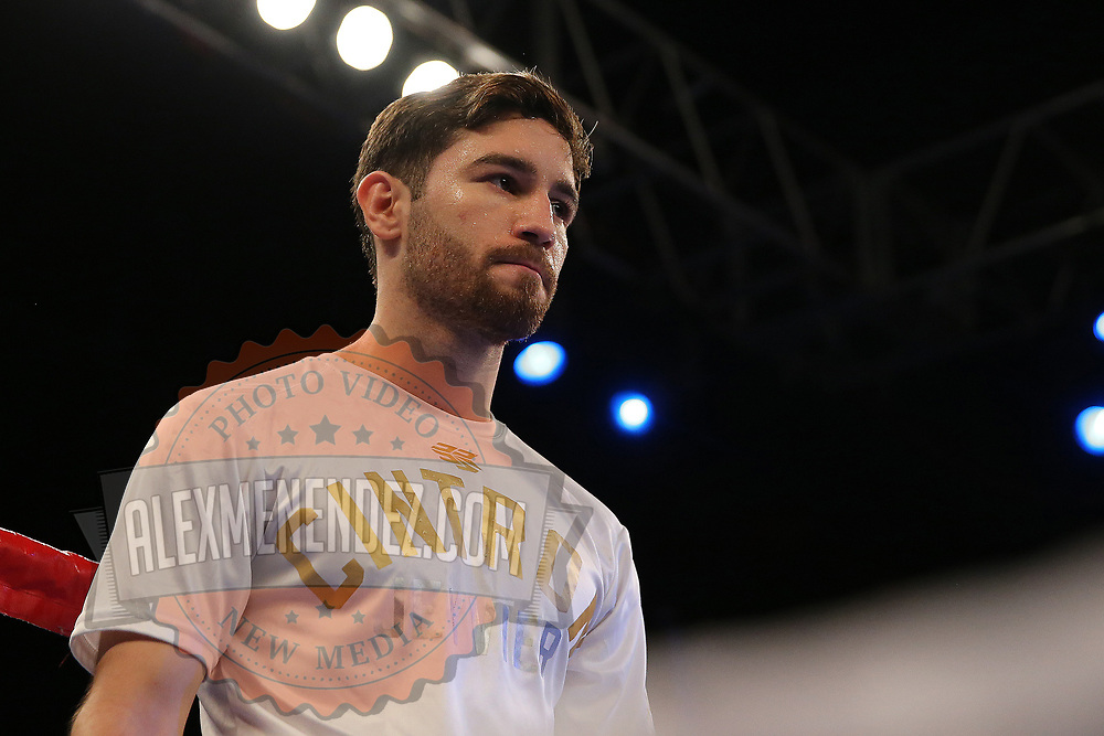 Puerto Rican Olymian Jeyvier Cintron is seen during introductions prior to his fight against Edson Noria during a Telemundo boxing match between at Osceola Heritage Park on Friday, February 23, 2018 in Kissimmee, Florida.  (Alex Menendez via AP)