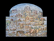 Pictures of the famous Nilotic landscape Palestrina Mosaic or Nile mosaic of Palestrina of the Museo Archeologico Nazionale di Palestrina Prenestino  (Palestrina Archaeological Museum), Palestrina, Italy. Measuring 5.85 m wide by 4.31 m high ( 19 ft wide x 14 ft high). 1st or 2nd century BC. Against a black background.<br /> <br /> The Nile mosaic of Palestrina can be attributed to Alexandrian artists who were certainly present in Italy during the 2nd century BC. The mosaic depicts the Nile in flood and artificially compresses the length of the river into a series of zig zags. The top part of the mosaic represents Ethiopia and Nubia at the source of the Nile. The river flows down steep slopes between black hunters and African animals. The Nile flows to the bottom right hand corner of the mosaic where the harbour of Alexandria is depicted and right in the bottom right corner is the Island of the Pharos opposite which is a banqueting scene, possibly at Canopus. <br /> <br /> In the centre of the mosaic is a large Egyptian temple possibly the great sanctuary of Memphis or Karnak. The Mosaic though is dotted with Greek temples of the Greek ruling Ptolemy family who displaced the Pharos. .<br /> <br /> If you prefer to buy from our ALAMY PHOTO LIBRARY  Collection visit : https://www.alamy.com/portfolio/paul-williams-funkystock/roman-mosaic.html - Type -   Palestrina   - into the LOWER SEARCH WITHIN GALLERY box. Refine search by adding background colour, place, museum etc<br /> <br /> Visit our ROMAN MOSAIC PHOTO COLLECTIONS for more photos to download  as wall art prints https://funkystock.photoshelter.com/gallery-collection/Roman-Mosaics-Art-Pictures-Images/C0000LcfNel7FpLI