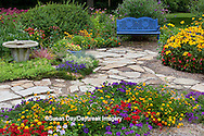63821-21611 Blue bench, stone path & bird bath in flower garden.  Black-eyed Susans (Rudbeckia hirta)  Red Dragon Wing Begonias (Begonia x hybrida) Homestead Purple Verbena, Red Verbena, New Gold Lantana, Marion Co., IL