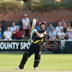 Somerset's Steve Davies watches the ball land safely<br /> <br /> Photographer Simon King/Replay Images<br /> <br /> Vitality Blast T20 - Round 1 - Somerset v Gloucestershire - Friday 6th July 2018 - Cooper Associates County Ground - Taunton<br /> <br /> World Copyright © Replay Images . All rights reserved. info@replayimages.co.uk - http://replayimages.co.uk