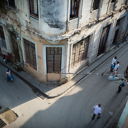 Elevated view of a street corner in Old Havana