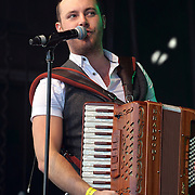 Nathan Carter and his band performs at the St Patrick's Day festival and Parade in London set to go green for another world-class 2016 on 13th March 2016 in Trafalgar Square, London, England,UK. Photo by © 2016