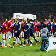 Galatasaray's and Fenerbahce's players during their Turkish superleague soccer derby match Galatasaray between Fenerbahce at the AliSamiYen spor kompleksi TT Arena in Istanbul Turkey on Saturday, 18 october 2014. Photo by Aykut AKICI/TURKPIX