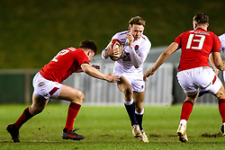 Connor Doherty of England U20 takes on Aneurin Owen and Max Llewellyn of Wales U20 - Mandatory by-line: Robbie Stephenson/JMP - 22/02/2019 - RUGBY - Zip World Stadium - Colwyn Bay, Wales - Wales U20 v England U20 - Under-20 Six Nations
