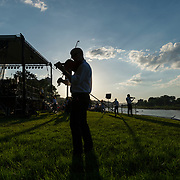 Sandro Leal-Santiesteban practices with his violin shortly before the West Virginia Symphony Orchestra takes the stage during the 36th annual Symphony Sunday on the lawn of the University of Charleston in Charleston, W.V., on Sunday, June 03, 2018