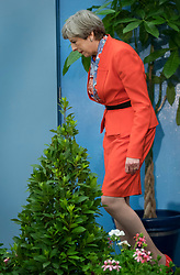 © Licensed to London News Pictures. 09/06/2017. Maidenhead, UK. Prime Minister Theresa May leaves the stage after speaking at her constituency count at the Magnet Leisure Centre in Maidenhead. Polling stations are closing at 10pm with TV exit poll predicting a hung parliament. Photo credit: Peter Macdiarmid/LNP