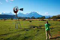 Photographer Working the Windmill at Lazo Estancia in Patagonia. Near Paine National Park and Lago Verde. Image taken with a Nikon D3x and 28 mm f/4 lens (ISO 100, 35 mm, f/11, 1/80 sec).120