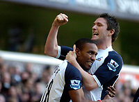 Photo: Leigh Quinnell.<br /> Tottenham Hotspur v Charlton Athletic. The Barclays Premiership. 05/02/2006. Tottenhams Robbie Keane celebrates after Jermain Defoes goal.