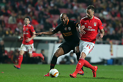 February 21, 2019 - Lisbon, Portugal - Benfica's Suisse forward Haris Seferovic vies with Galatasaray's defender Mariano during the UEFA Europa League Round of 32 Second Leg football match SL Benfica vs Galatasaray at Luz stadium in Lisbon, Portugal on February 21, 2019. (Credit Image: © Pedro Fiuza/NurPhoto via ZUMA Press)