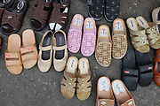 Shoes for sale at Meuang Mai morning market on 8th June 2016 in Chiang Mai, Thailand.