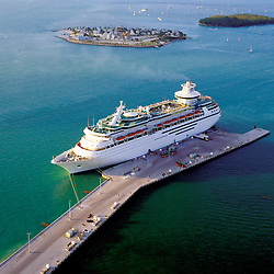 Aerial view of Cruiseship docked in Key West Florida at Sunset.