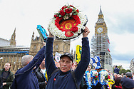 Manchester United wreath at Westminster Bridge during the Football Lads Alliance march between Park Lane and Westminster Bridge, London on 7 October 2017. Photo by Phil Duncan.