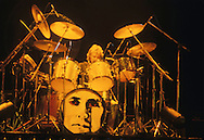 LOS ANGELES, CA - FEBRUARY 14: Roger Taylor of Queen in concert at The Forum on February 14, 1980 in Los Angeles, California.