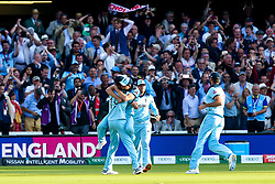 England celebrate beating New Zealand in the World Cup Final after a Super Over - Mandatory by-line: Robbie Stephenson/JMP - 14/07/2019 - CRICKET - Lords - London, England - England v New Zealand - ICC Cricket World Cup 2019 - Final