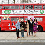 Simon Gross, Lady Colin Campbell, Francine Lewis, Alex Reid and Tonia Buxton attend Celeb Bri Tea, on board the BB Bakery bus on 22 March 2019, London, UK.