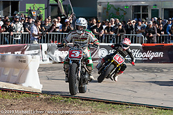 Joe Kopp on his Triumph Street Twin was the big winner of the Revival and Roland Sands sponsored Super Hooligan races in the parking lot of the Austin American Statesman outside the Handbuilt Show. Austin, Texas USA. Saturday, April 13, 2019. Photography ©2019 Michael Lichter.