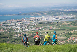 Mountain bikers looking at cityscape and sea from mountain
