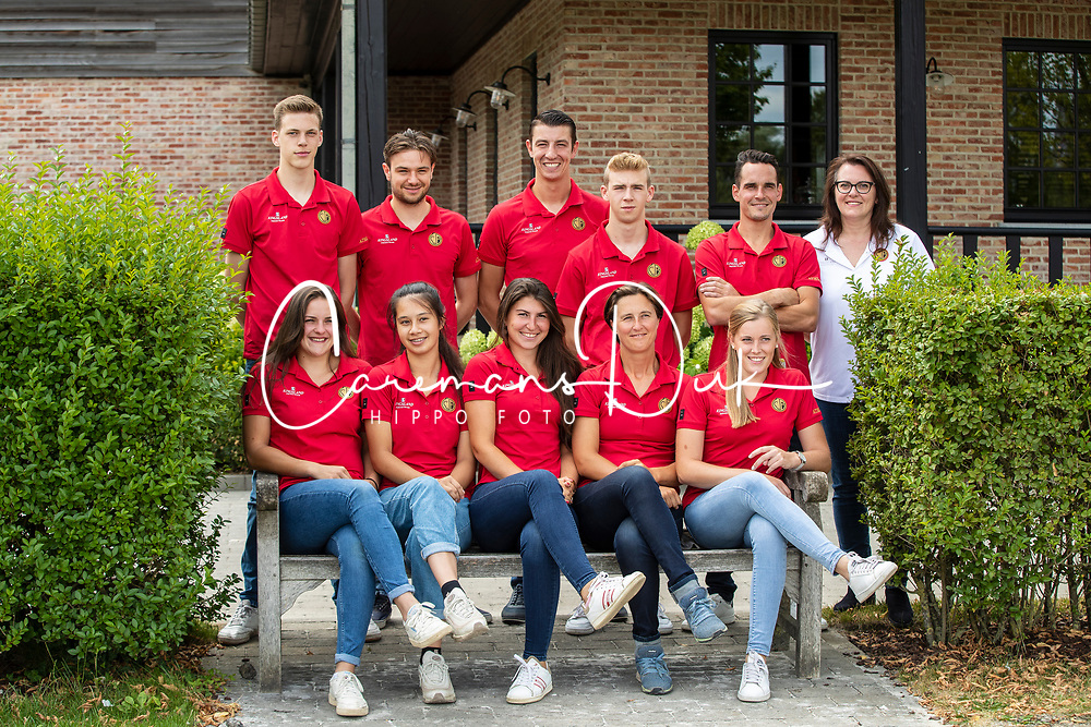 Team Horseball Belgium <br /> Boven : , Wesemael Stijn, Van Severen Anton, Cool Robin, Augustyns Michael, Van Herreweghe Axel, chef d'equipe, Cobbaut Hilde<br /> Onder :  Costers Charlotte, Buyle Taazanna, Goldschmith Natasha, Antheunis Valerie, De Ridder Ninke<br /> Team Belgium Horseball Male Elite 2019<br /> © Hippo Foto - Dirk Caremans<br /> 06/08/2019