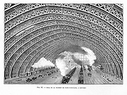 Interior of St Pancras Railway Station, London 1865. Using an iron latticed arched roofand by dispensing with struts and ties,WJ Barlow and RM Marsh were able to construct clean arch 100ft high with span of 140ft. Engraving.