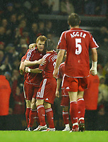 Fotball<br /> England <br /> League Cup 3rd round<br /> Liverpool v Reading<br /> Foto: Propaganda/Digitalsport<br /> NORWAY ONLY<br /> <br /> LIVERPOOL, ENGLAND - WEDNESDAY, OCTOBER 25th, 2006: Liverpool's John Arne Riise celebrates scoring the second goal against Reading, with his team-mates during the League Cup 3rd Round match at Anfield