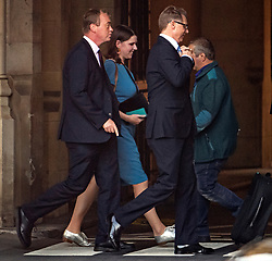 © Licensed to London News Pictures. 04/09/2019. London, UK. Former Liberal Democrat leader TIM FARRON (L) and current leader JO SWINSON (2L) are  seen at the Houses of Parliament in Westminster, London. British Prime Minister Boris Johnson has a called for a general election after losing his first commons vote and losing his majority, removing his control of parliament. Photo credit: Ben Cawthra/LNP