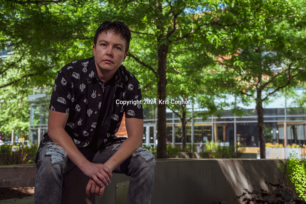 Actor & Director Aaron Crocker poses for a portrait in the Navy Yard neighborhood on June 15, 2021 in Washington DC. Photo by Kris Connor
