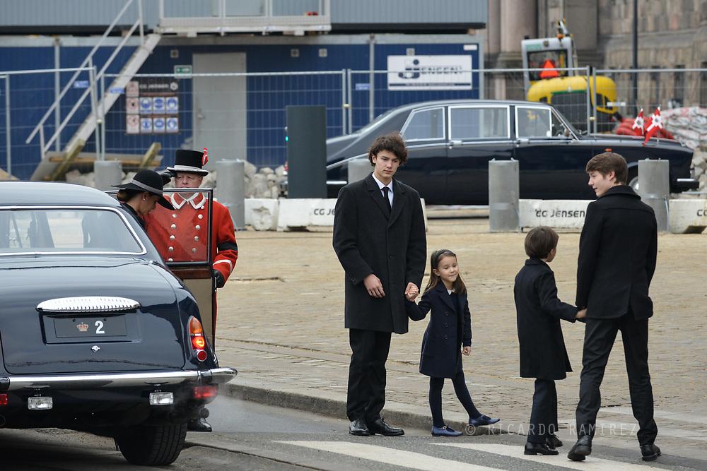 20.02.2018. Copenhagen, Denmark. <br /> Princess Marie, Prince Nikolai, Princess Athena, Prince Henrik, Prince Felix arrival to Christiansborg Palace Church. <br /> Photo: Ricardo Ramirez.
