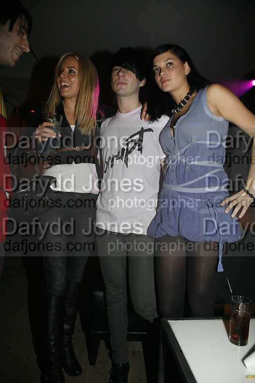 Sienna Miller and members of The DJ collective the MisShapes.Leigh Lezark and Geordon Nicol, Pepe Jeans, Sienna Miller  new ambassador party. 17 Berkeley Street, London, W1.  4 October 2006. -DO NOT ARCHIVE-© Copyright Photograph by Dafydd Jones 66 Stockwell Park Rd. London SW9 0DA Tel 020 7733 0108 www.dafjones.com