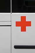 Deutsches Rotes Kreuz - DRK (German Red Cross) vehicle logos at their administrative HQ, 58 Carstennstrasse, Berlin.