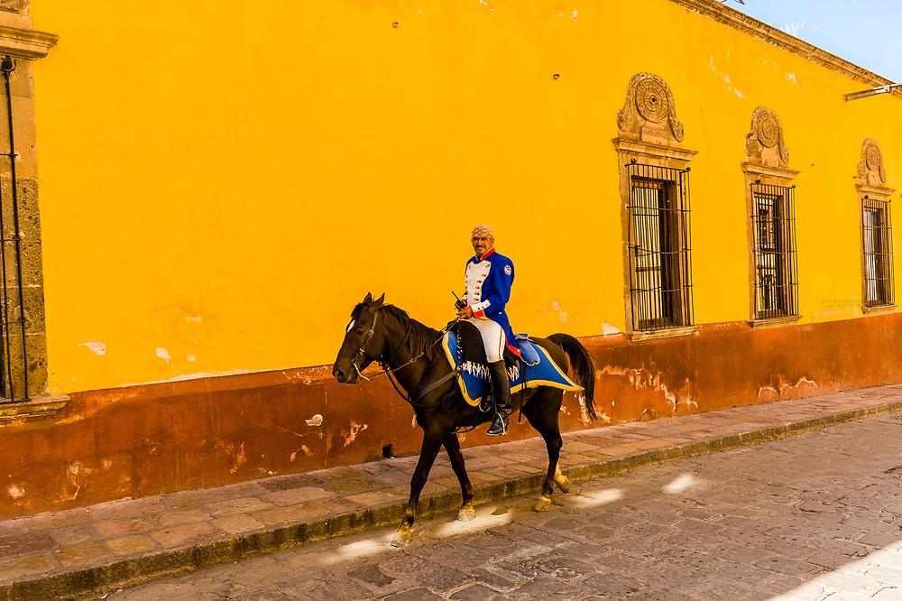 Mounted policeman, San Miguel de Allende, Guanajuato state, Mexico
