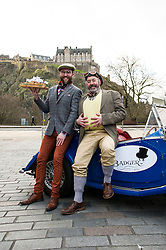 Pictured: Toad (Mark Mackenzie-Smith)(Goggles) and Mole (Mike Davies) were out early on their travels today<br /> <br /> Bar to open in The Wind in the Willows author Kenneth Grahame's childhood home. Toad of Toad Hall and Mole arrive in their Morgan car to handout pies to passers by.<br /> <br /> Ger Harley | EEm 31 March 2016
