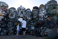 electrical waste statue  representing the G7 leaders  Environmental Protest Groups gather in Cornwall as the UK Prime Minister, Boris Johnson, hosts leaders from the USA, Japan, Germany, France, Italy and Canada at the G7 Summit in Carbis Bay. This year the UK has invited Australia, India, South Africa and South Korea to attend the Leaders' Summit as guest countries as well as the EU.