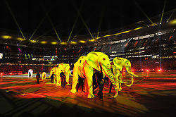 JOHANNESBURG, July 12, 2010  Elephant puppeteers perform during the closing ceremony of the 2010 FIFA football World Cup ahead of the final between the Netherlands and Spain on July 11, 2010 at Soccer City stadium in Johannesburg, South Africa. (Xinhua/Yang Lei) (Credit Image: © Xinhua via ZUMA Wire)