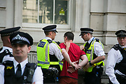 A man is detained by police outside Downing Street June 21st 2017, London, United Kingdom. He was alledgedly not part of the demonstration and was antagonising the crowd for no reason. Hundreds marched protesting against the Governments respond to the Grenfell Tower disaster. The mood was angry but peacefull and ended on Parliament Square green after police made people get of the streets and let traffic re-assume.