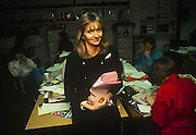 A portrait of Irish media personality, Miriam O'Callaghan while working as a producer on the BBC show, Kilroy in the summer of 1989, in London England. O'Callaghan (b1960) is an Irish television current affairs presenter with RTÉ.