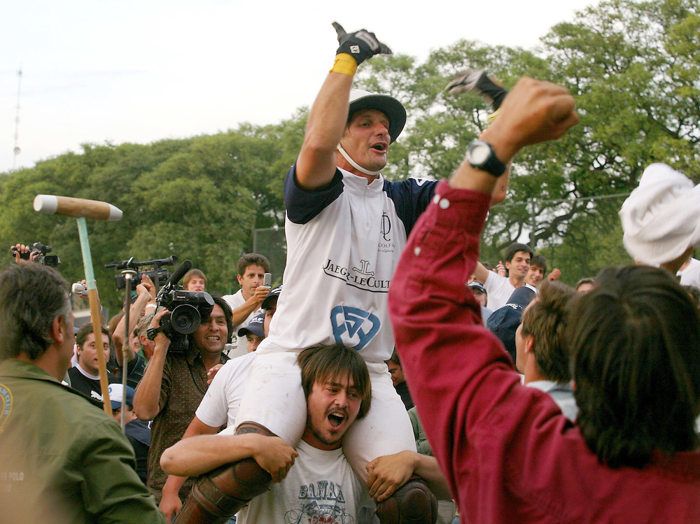 Polo player Bartolomé Castagnola rejoices after winning the Argentine Open, Palermo, Buenos Aires