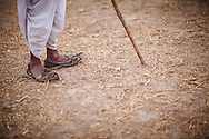 Traditional Rajasthani footwear worn by a camel trader at the Pushkar Camel Fair, Rajasthan, India
