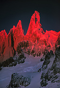 Cerro Torre West face, winter sunset from South Patagonia icecap, border Chile / Argentina, Patagonia.