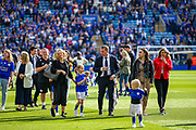 Leicester City manager Brendan Rodgers walks around the pitch at full time thanking fans during the Premier League match between Leicester City and Chelsea at the King Power Stadium, Leicester, England on 12 May 2019.