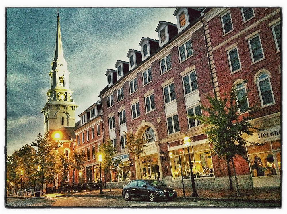 """Congress Street morning, Portsmouth, New Hampshire. iPhone photo - suitable for print reproduction up to 8"""" x 12""""."""