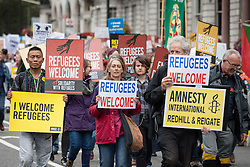September 17, 2016 - London, London - London, UK. Thousands march through central London to call on the government to welcome refugees to the UK. (Credit Image: © Rob Pinney/London News Pictures via ZUMA Wire)