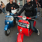 MILAN, ITALY - JUNE 05:  Participants arrive for the start of the Vespa race on June 5, 2010 in Milan, Italy. Vespa is one of the best known Italian icons, the special Vespa weekend is the XV edition of the famous  500km night race  (Photo by Marco Secchi/Getty Images)