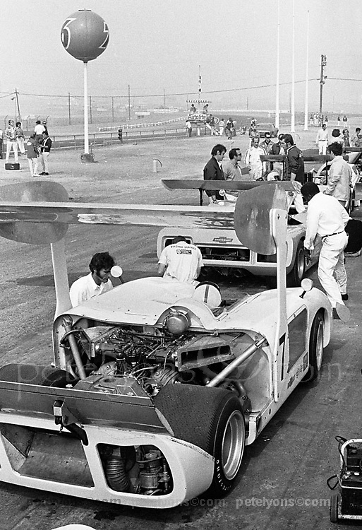 """Chaparral 2H at 1969 Riverside Can-Am; photo taken early in practice, when the car was still wearing the """"parasol"""" wing used at the previous race; PHOTO BY Pete Lyons 1969 / www.petelyons.com"""
