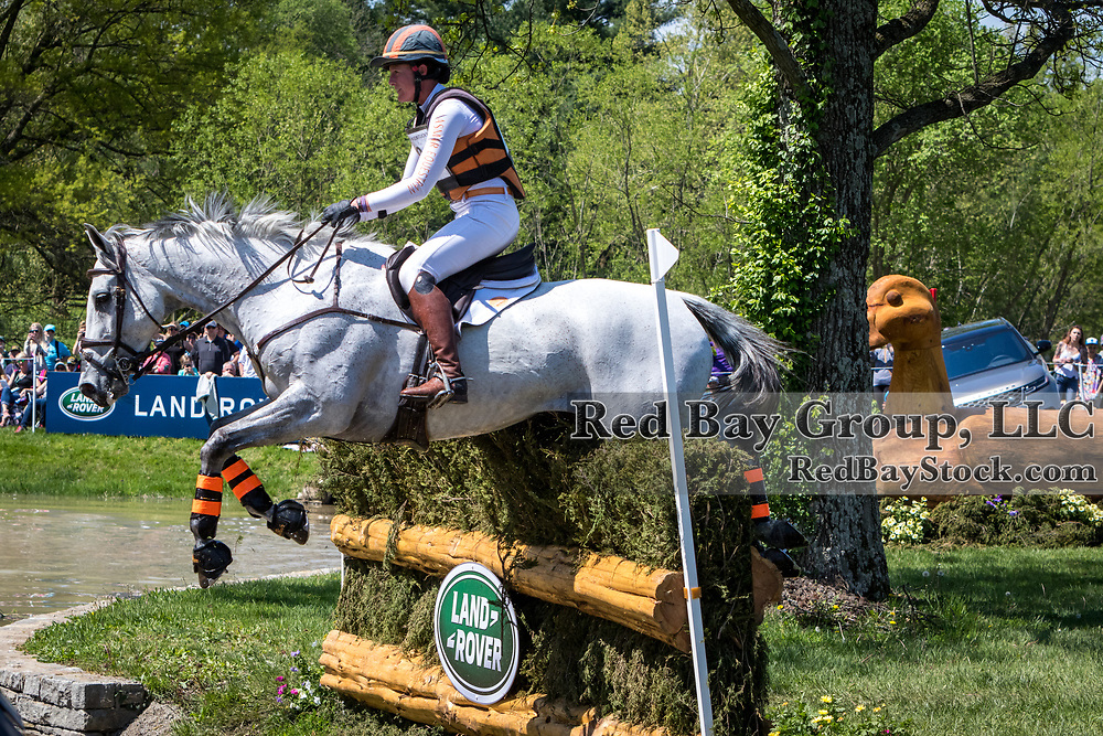 Lauren Kieffer (USA) and Paramount Importance on cross-country course during the cross-country at the 2019 Land Rover Kentucky Three-Day Event presented by MARS EQUESTRIAN in Lexington, Kentucky